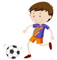 Boy kicing soccer ball vector image vector image
