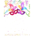 Bright carnival masks with confetti and serpentine vector image vector image