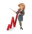businesswuman with red up diagram vector image