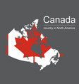 canada map and flag on black background vector image vector image