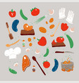 cartoon hand drawn cook set with cooking vector image