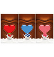 chocolate heart background with berries vector image vector image