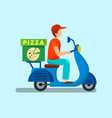 courier driving motorbike flat vector image vector image