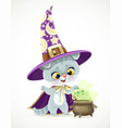 cute cartoon baby cat in the wizards hat vector image vector image