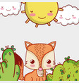cute fox in forest doodle cartoons vector image vector image