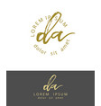 d a initials monogram logo design dry brush vector image