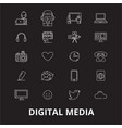 digital media editable line icons set on vector image vector image