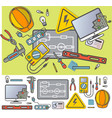 electricity engineering icon set in flat design vector image vector image