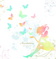Fairy of watercolor paint vector image