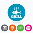 Fish grill hot icon Cook or fry fish symbol vector image vector image