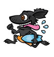 flat-coated retriever goes surfing vector image