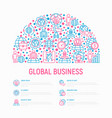 global business concept in half circle vector image vector image