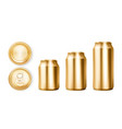 gold tin cans for soda or beer in different views