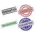 grunge textured renovation seal stamps vector image