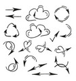 hand drawn black arrows on a white background are vector image vector image