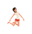 happy woman in jumping action young girl with vector image vector image