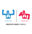 healthy lungs and disease lungs human symbols vector image