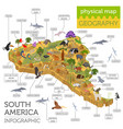 isometric 3d south america flora and fauna map vector image