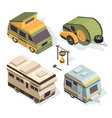 isometric camping cars pictures isolate on vector image