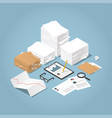isometric paper work vector image
