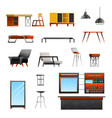 loft cafe constructor set vector image vector image