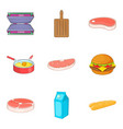 meat for sandwich icons set cartoon style vector image vector image