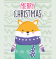 merry christmas celebration cute fox wearing scarf vector image