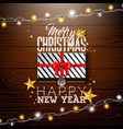 merry christmas with gift box lights vector image vector image