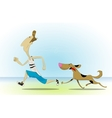 Morning jog on beach with dog vector image