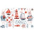 nautical watercolor barabbit sailor vector image vector image