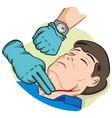 person measuring pulse through carotid artery vector image vector image
