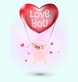 pig flying with heart balloon vector image
