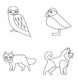 Polar animals in line style on white background vector image