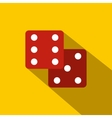 Red dice flat icon vector image vector image