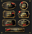 retro vintage black and gold badges and labels vector image vector image