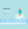 rocket flying above group of clouds vector image