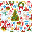 Seamless pattern of Christmas icons vector image