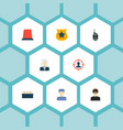set of crime icons flat style symbols with police vector image vector image