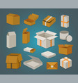 set open and closed carton box delivery packaging vector image
