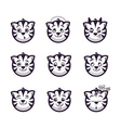 Set smiles tiger Monochrome emotions icons vector image