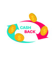 sign cash back vector image vector image