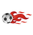 soccer ball on fire with turkey flag vector image vector image