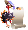Turkey with blank note vector image vector image