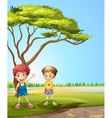 Two young boys near the road vector image vector image