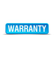 warranty blue 3d realistic square isolated button vector image vector image