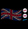 waving uk flag mosaic of sword items vector image vector image