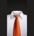 white shirt orange tie on black vector image vector image