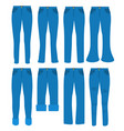 women jeans flat set vector image