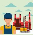 worker transport tanker truck refinery plant oil vector image vector image