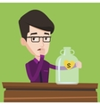 Worried businessman looking at empty glass jar vector image vector image